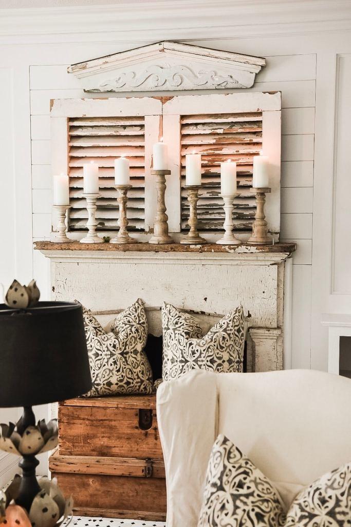farmhouse style mantel