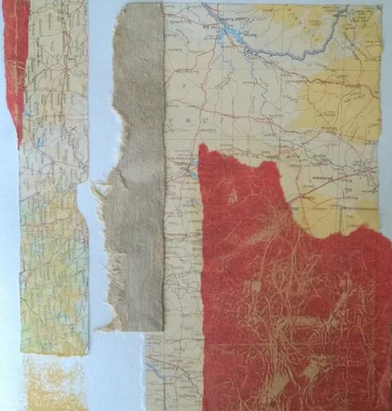 Handmade paper collage by Liz Ruest