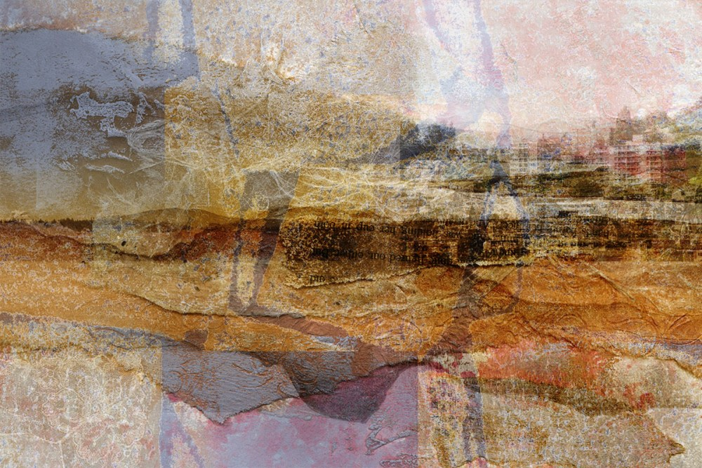the gaps between: Digital collage, 15 layers © 2017 Liz Ruest