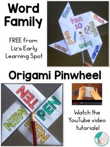 Word Family Origami Pinwheel