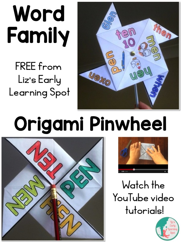 Grab your free Word Family  Origami Pinwheel