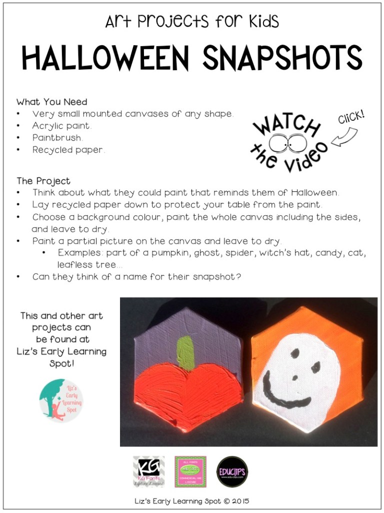 Here's how your kids can create a series of gorgeous Halloween snapshots using canvas and acrylic paints!