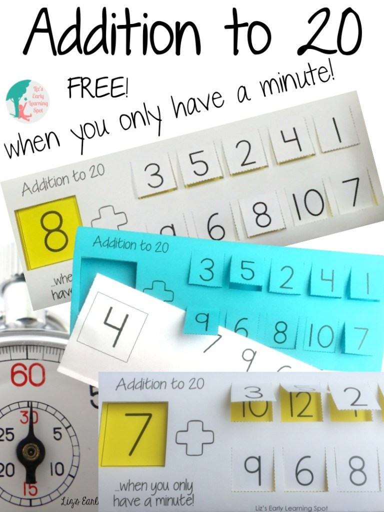 Lower stress levels by spending only a minute or two working on addition to 20.