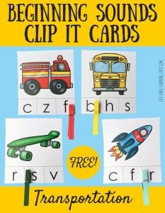 Beginning Sounds Transportation Clip It Cards
