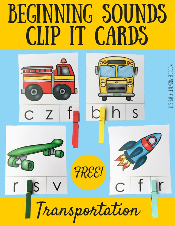 Beginning Sounds Transportation Clip It Cards