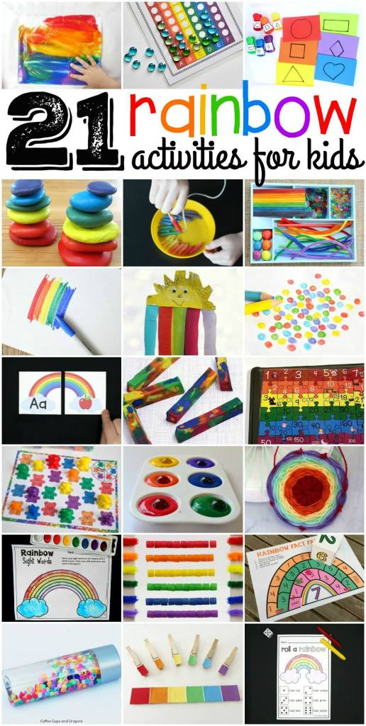 Wonderful rainbow ideas for developing and learning. Free printables, too!