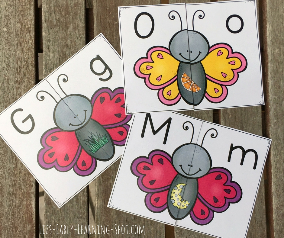 Practice alphabet matching and beginning sounds with these free spring butterfly puzzles.