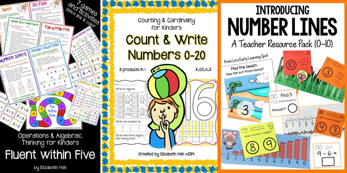 Resources for counting with 5, 20, and 100 plus number lines 0-10!