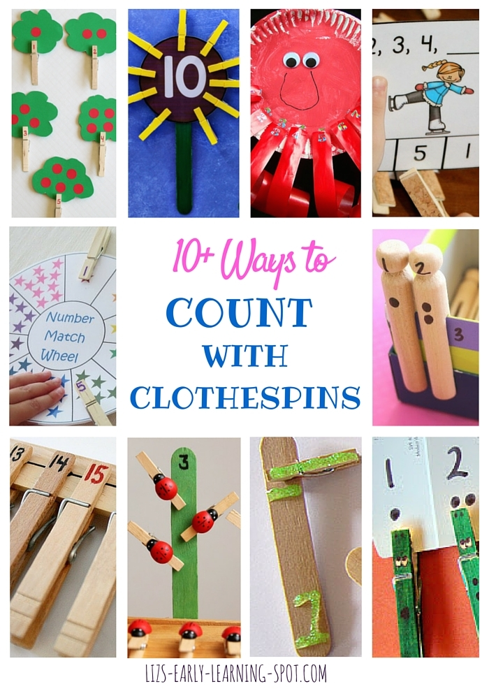 There are lots of great ideas for kids to count with clothespins here!