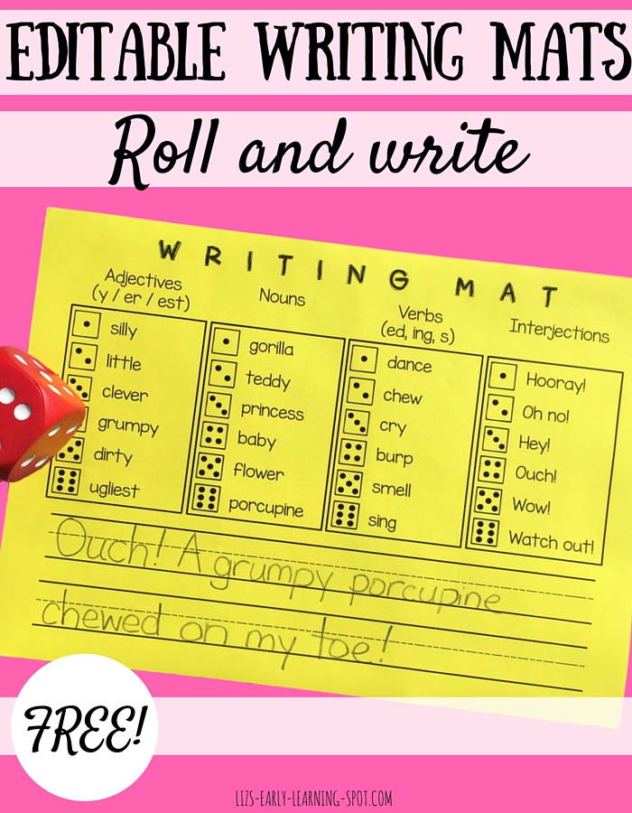 Roll a die to choose your words and get writing! This writing mat is free and easy to edit!