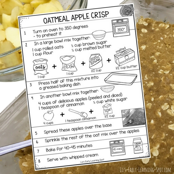 Kids can help a lot with this simple oatmeal apple crisp recipe. Free recipe and preparation check list for kids to follow along!