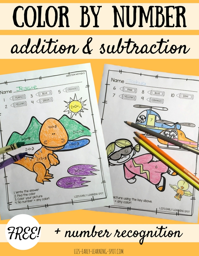 Practice basic addition, subtraction and number recognition with these free color by number activity sheets!