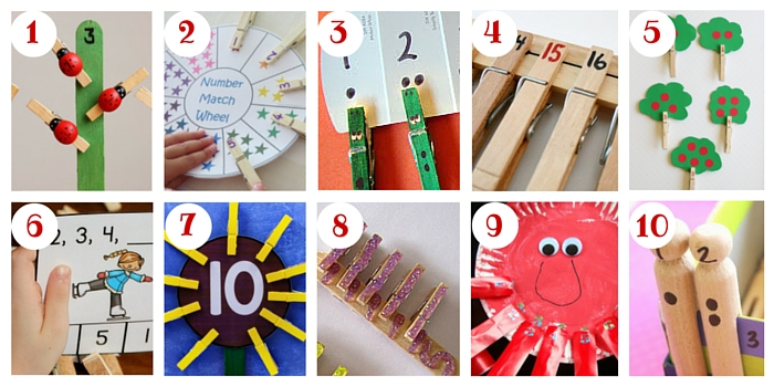 Lots of great counting ideas here, and links to loads of free clothespin counting cards, too, in case you don't want to DIY!