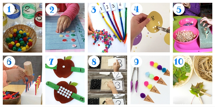 Here are some terrific ways to get kids to count while they're strengthening their hands!