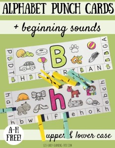 Alphabet Punch Cards with Beginning Sounds