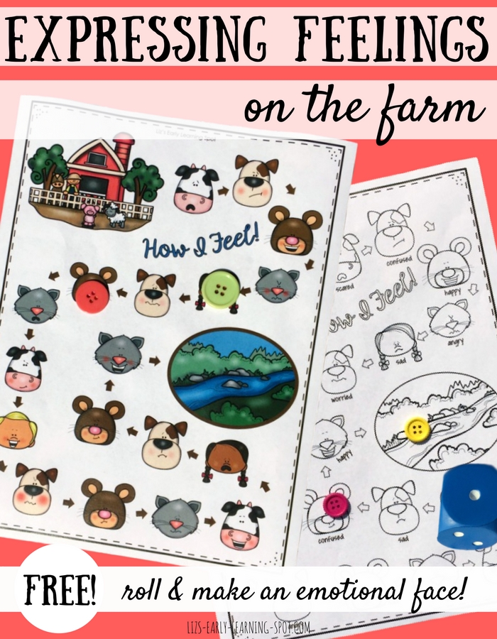 Practice making emotional faces with this Expressing Feelings farm-themed game. Free!!