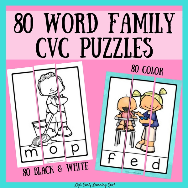 Practice CVC words with these lovely puzzles, in colour and black and white!