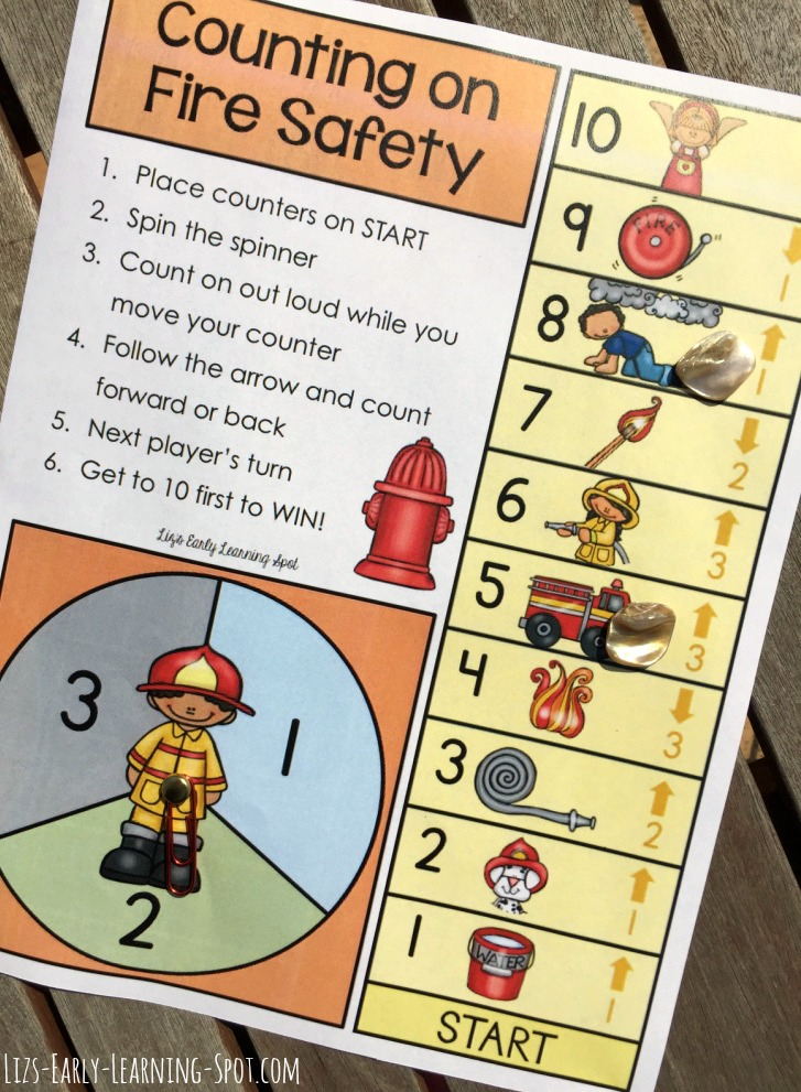 Here's a free fire safety-themed counting on board game that focuses on numbers within 10. Download it now!