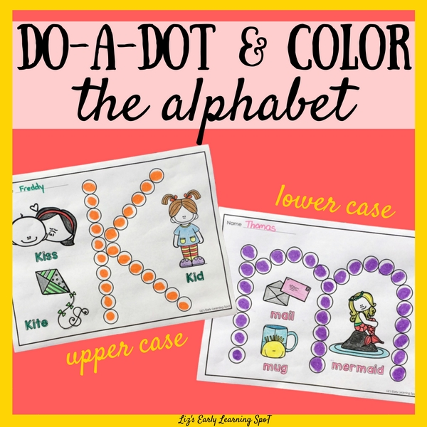 Stamping and coloring are a fun way to learn more about the alphabet plus strengthen fine motor skills!