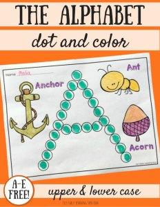 The Alphabet Dot and Color: A-E Free!