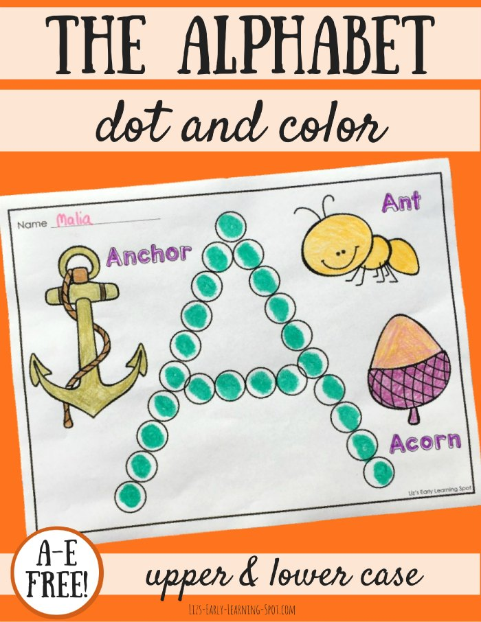 These alphabet dot and color pages are excellent for fine motor skills while learning about letters! A-E free!