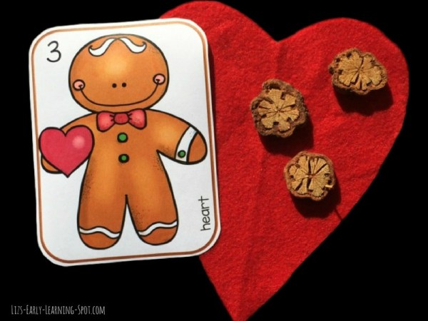 Sweet gingerbread counting cards for matching shapes. Free!