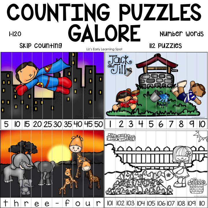 You'll find all the counting puzzles you could need for practicing counting 1-120 in this pack!