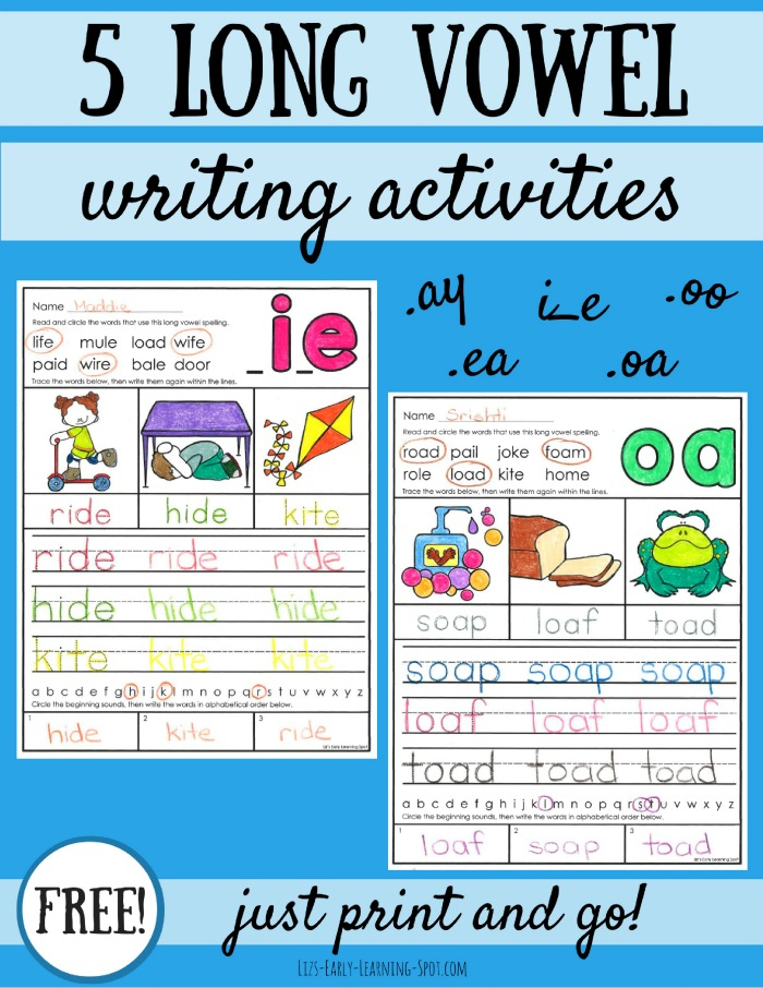 Grab these free long vowel writing activities to get in some quick writing practice!
