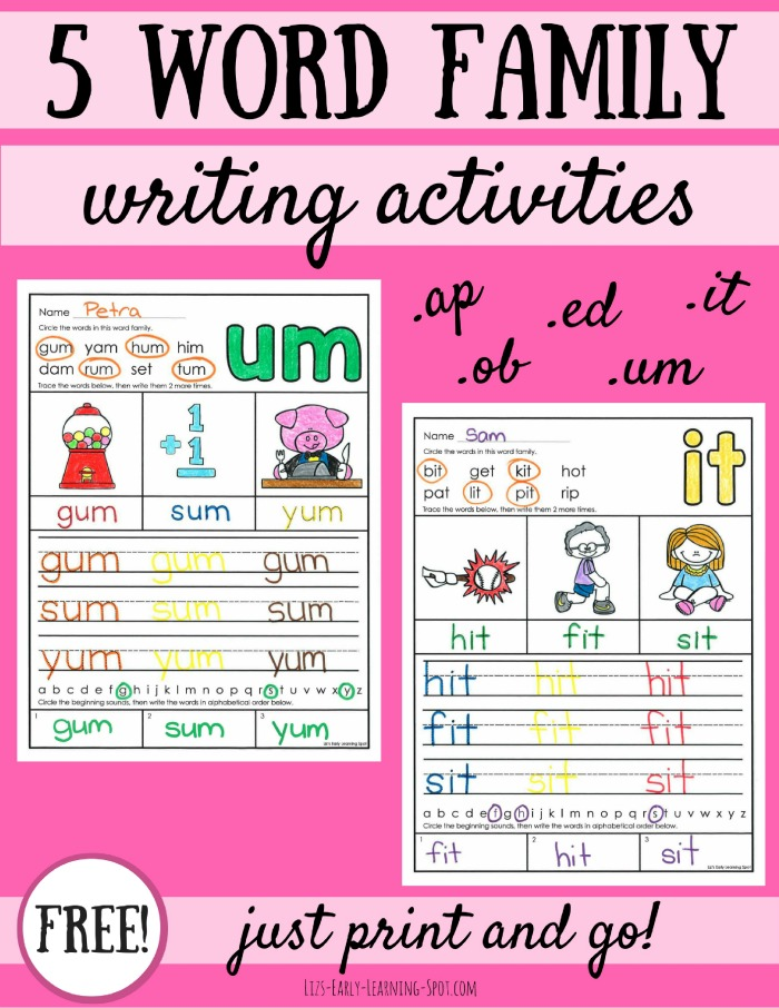 5 Word Family Writing Activities Lizs Early Learning Spot