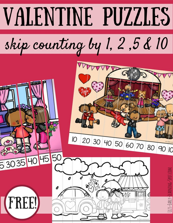 These free Valentine skip counting puzzles are a fun way to practice counting by 1s, 2s, 5s and 10s!