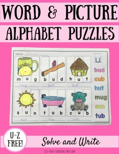 Word and Picture Puzzles: Letters U-Z