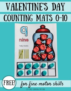 Valentine's Day Play Dough Counting Mats