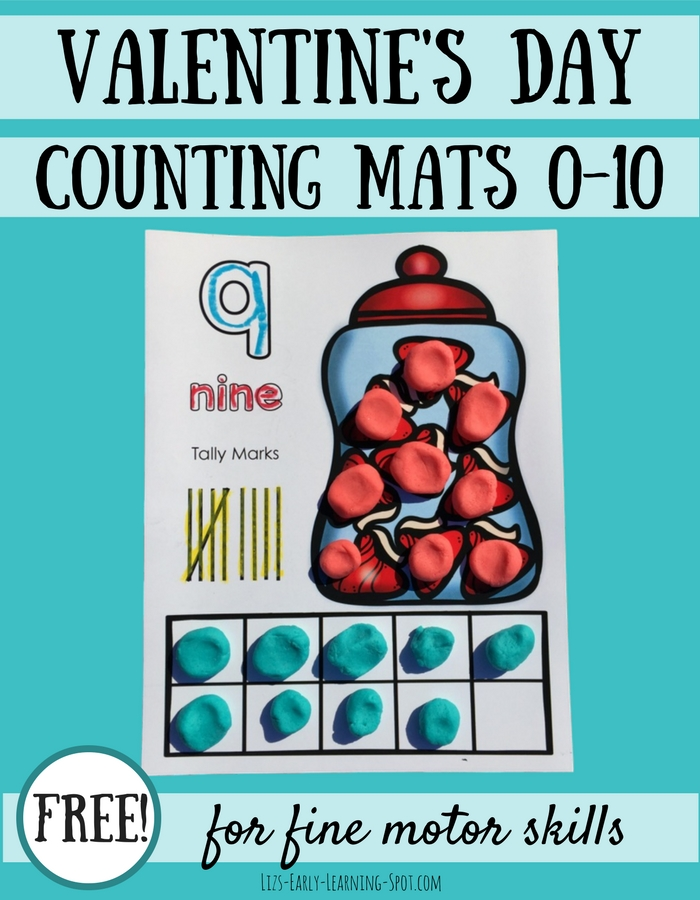 Valentine\'s Day Play Dough Counting Mats | Liz\'s Early Learning Spot