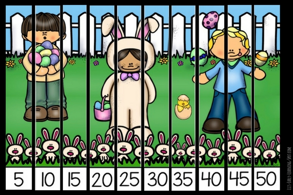 Put these pictures together and practice skip counting with these free Easter puzzles!