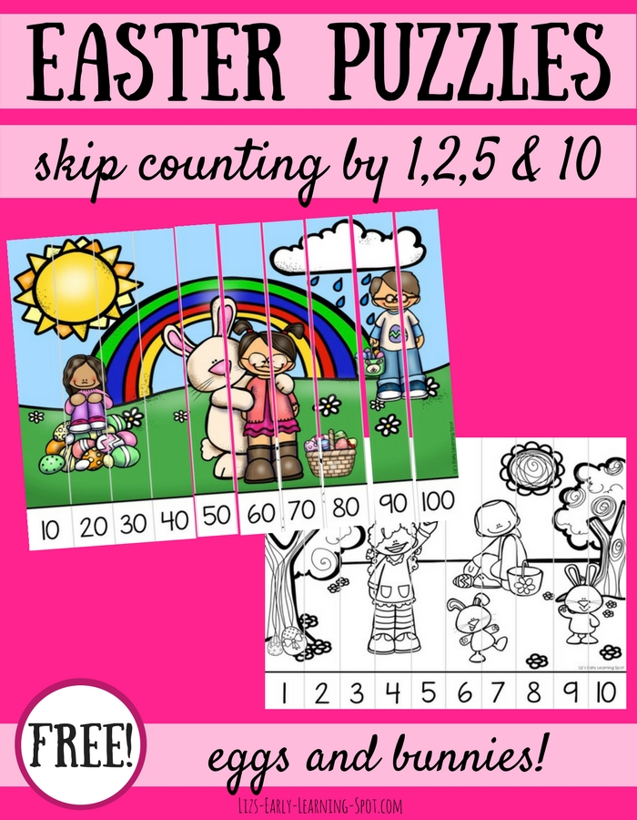 Encourage your kids with their numbers by using these free Easter skip counting puzzles!