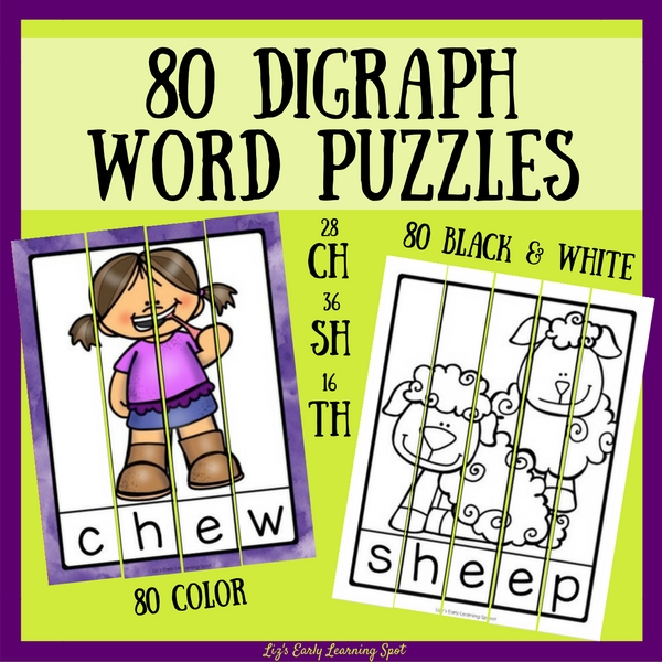 Gain confidence with digraphs using these digraph word puzzles for ch, sh and th!