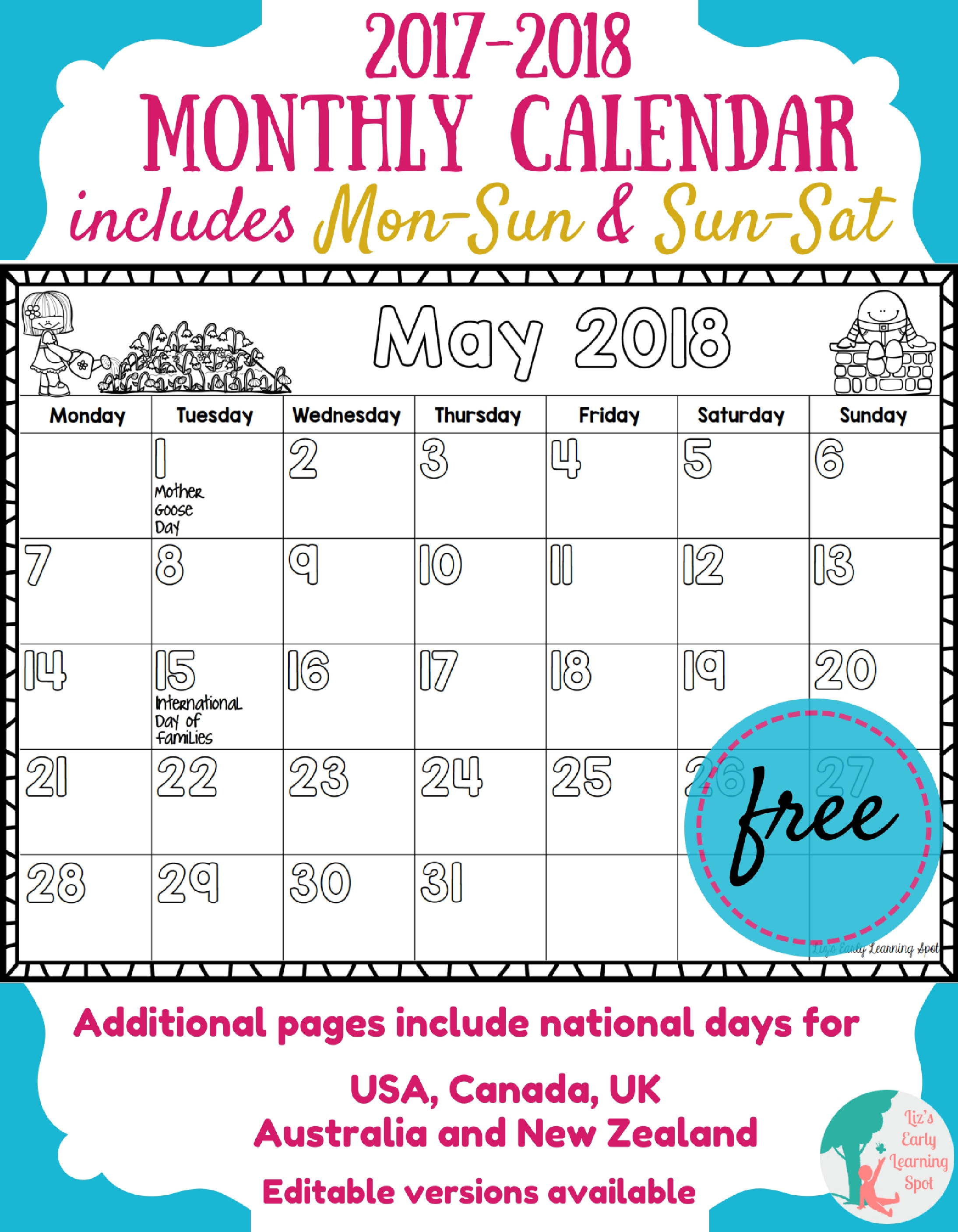 Free Monthly Calendar For Kids