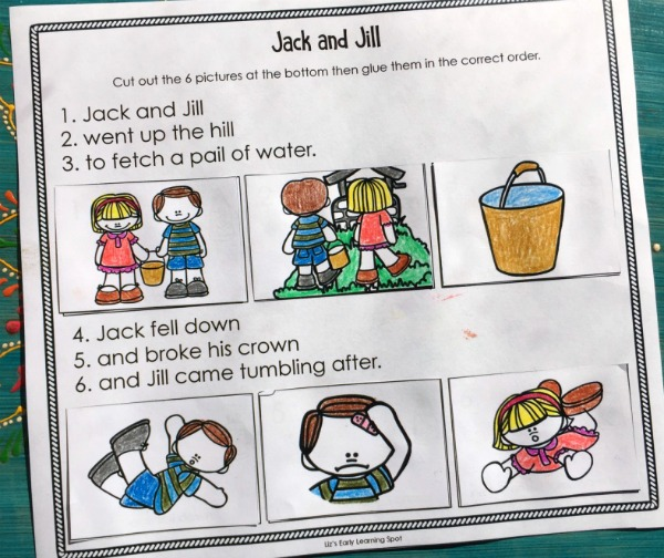 Re-tell the nursery rhyme Jack and Jill with these free activities!