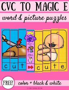 CVC to Magic E Word and Picture Puzzles