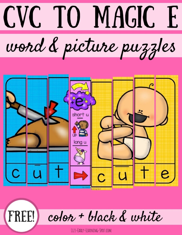These free CVC to Magic E word and picture puzzles are a quick way to practice switching between short and long vowels!