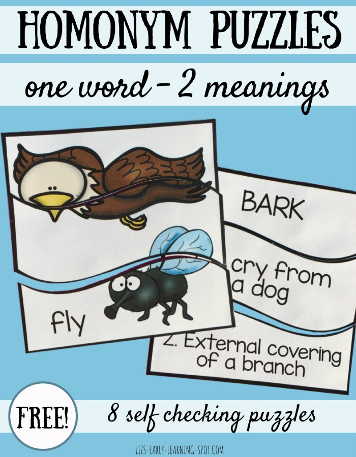 Introduce your kids to one word having multiple meanings with these free self correcting homonym puzzles!