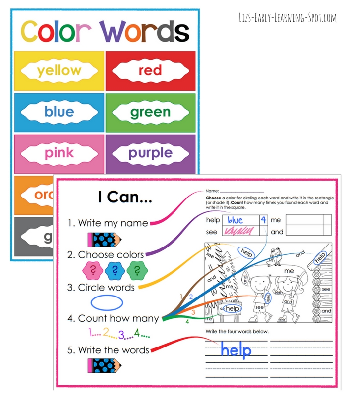These posters will help kids work independently on their free sight word colouring pages!