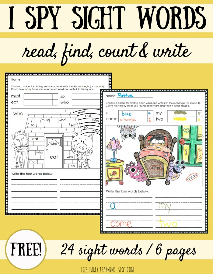 Read, find, count and write sight words with these free colouring pages!