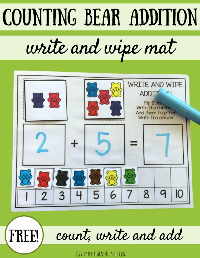 You'll get tons of use out of this free write and wipe addition and counting mat!