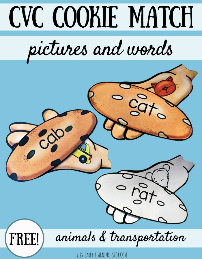 CVC Cookie Match with Pictures and Words | Liz\'s Early Learning Spot