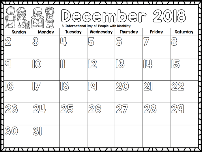Free 2018 monthly calendars, excellent for classroom or home!