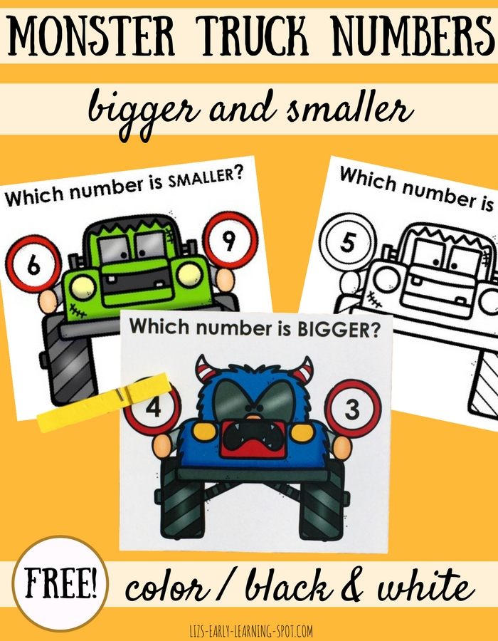 These free monster clip cards are a fun way to practice bigger and smaller numbers to 10!