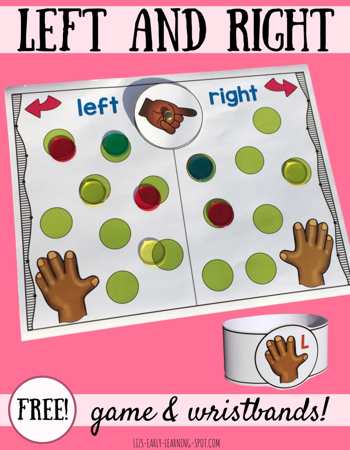 Practice learning left and right with these free wristbands and board game!