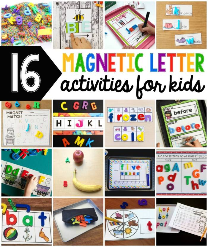 Wow! Look at all these amazing (free) magnetic letter activities for kids!