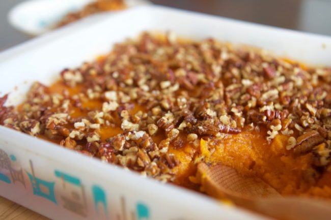 Pecan Topped, Slightly-Sweet Sweet Potato Casserole via LizsHealthyTable.com #thanksgiving